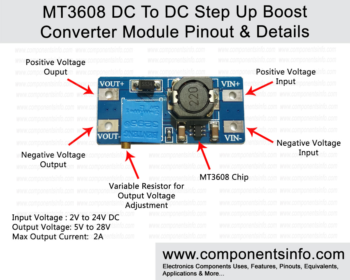 MT3608 DC To DC Step Up Boost Converter Module Pinout, Datasheet, Specs