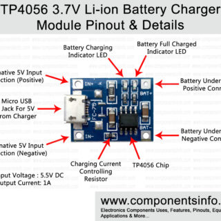 TP4056 3.7V Li-ion 18650 Battery Charger Module Pinout, Datasheet & Details