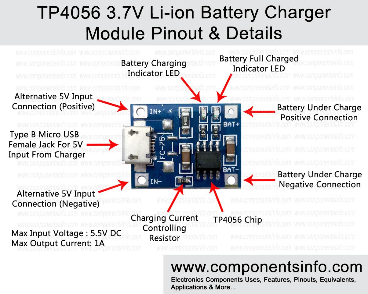 TP4056 3.7V Li-ion 18650 Battery Charger Module Pinout, Datasheet & Details