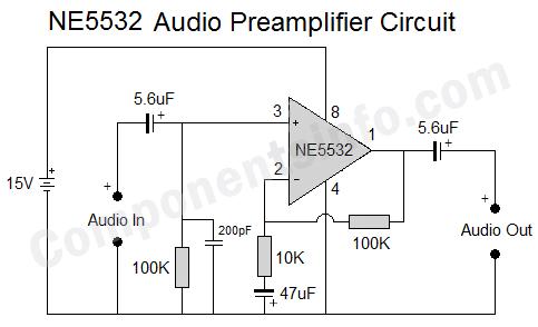NE5532 Audio Preamplifier Circuit